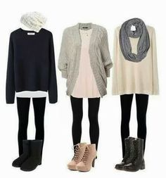 Stylish Sweaters with Leather Boots, Black Tights and Accessories, Street Style