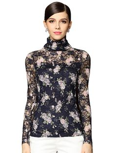 Turtle Neck Hollow Out Embroidery Long Sleeve Lace Blouses