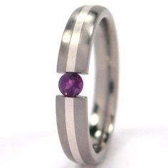 4mm Titanium Tension Set Ring w/ Silver Inlay, Alexandrite Bands ** To view further, visit now : Jewelry Rings