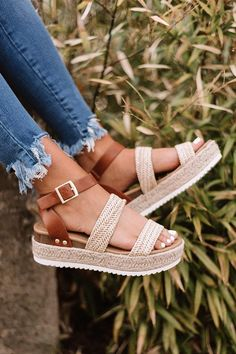 """Stay looking cool in the summer heat with our tan """"Lela Espadrille"""" featuring a lifted sole, two textured over the foot straps, buckled ankle straps, and an open heel and toe! This espadrille runs more true to size. Dressy Shoes, Cute Shoes, Me Too Shoes, Shoe Boots, Shoes Heels, Stiletto Heels, Summer Shoes, New Shoes, Fashion Shoes"""