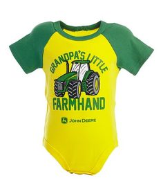 Another great find on #zulily! Yellow 'Grandpa's Little Farmhand' Raglan Bodysuit - Infant #zulilyfinds
