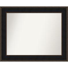 Wall Mirror Choose Your Custom Size - Medium, Mezzanine Espresso Wood (Outer Size: 36 x 31-inch), Black/Bronze