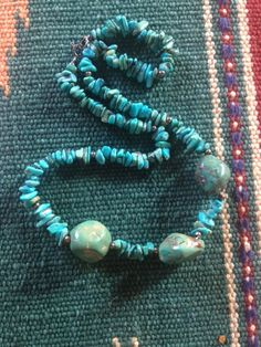 Vintage Native American Turquoise & Sterling Silver Necklace