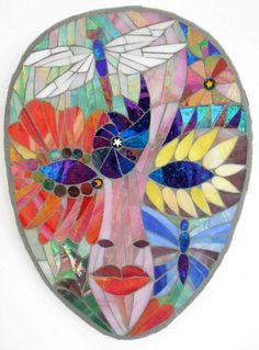 "A mosaic comission ""summer mask "" by Catherine Van Giap of Freshwater Mosaics"