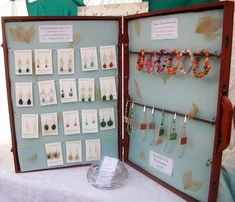 Display case for jewelry, created by transforming a wooden art supply case