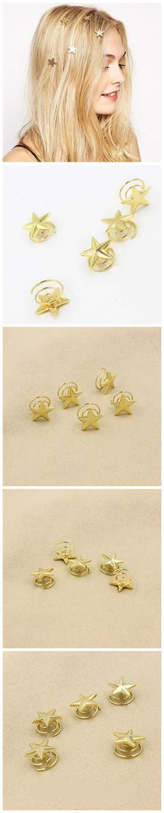 1Pc Cute Gold Multi Star Hair Clip Headband Hair Accessories Headpiece Boho