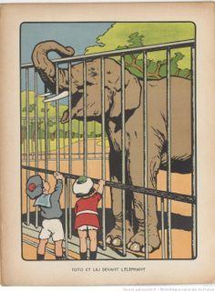Toto et Lili devant l'éléphant. http://gallica.bnf.fr/ark:/12148/bpt6k6459552s/f14.image.r=.langFR