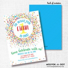 PRIMARY CONFETTI oh what fun! first birthday invitation bright rainbow primary colors confetti birthday party invitation  boy girl twin 1st by misspokadot on Etsy