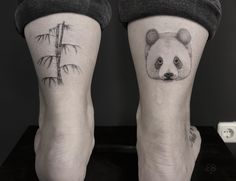 Panda Bamboo Dotwork Tattoo