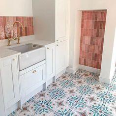 Artisan Rose Mallow x Moroccan Encaustic Cement Pattern Bathroom Floor Tiles, Tile Floor, Kitchen Floor Tile Patterns, Cement Tile Backsplash, Patterned Kitchen Tiles, Tiling, Kitchen Backsplash, Pink Tiles, Green Tiles