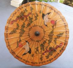 One of the 4 parasols carried by the bride and bridesmaids. Great opportunity for post wedding photographs.