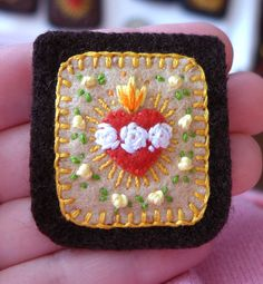 Embroidered Brown Scapular: Sacred and Immaculate Hearts With Yellow Rosebuds