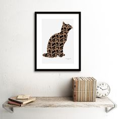 Cat re-imagined art print. Cat Wall, Art Prints, Wall Art, Cool Stuff, Cats, Unique Jewelry, Handmade Gifts, Vintage, Color