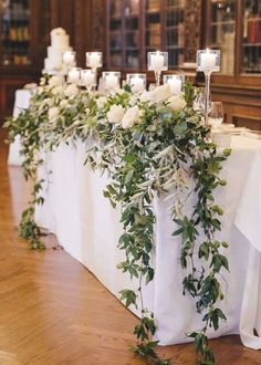 Wedding Table Garland, Wedding Table Decorations, Wedding Themes, Wedding Centerpieces, Wedding Designs, Tall Centerpiece, Tulle Table, Wedding Ideas, Floral Wedding