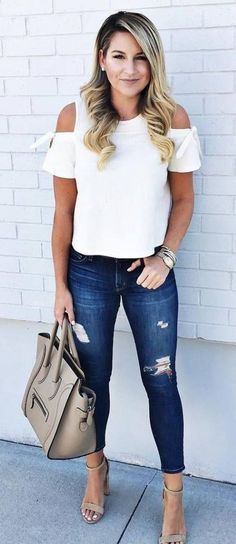 summer outfits White Off The Shoulder Top + Ripped Skinny Jeans