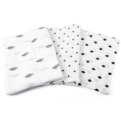 Swaddle Blankets, 3 Pack Unisex Large 47 x 47, Soft Breathable Muslin Cotton, Classic Black and White Designs, Receiving Wrap and Burp Cloth For Babies