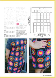 """Photo from album """"Inside Crochet - Issue on Yandex. Crochet 101, Crochet Granny, Crochet Patterns, Crochet Tops, Granny Square Quilt, Granny Squares, Crochet Feather, Mandala, Crochet Buttons"""