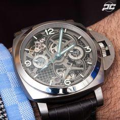 Panerai PAM578 Titanium Tourbillon GMT Special Edition from SIHH2016. Priced at $143,000 USD. Luminor Panerai Watch, Luminor Watches, Mechanical Art, Hand Watch, Mans World, Men's Collection, Luxury Watches, Omega Watch, Rolex