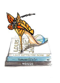 Butterfly Wing Sandal Fashion Illustration Art Print