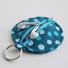 DIY Blue Polka Dot Earphone Case - could be a cute change purse too :-) by annmarie