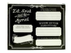 """set of 48 BLACK marital WISHES table CARDS """"EAT drink and be MARRIED"""" reception"""
