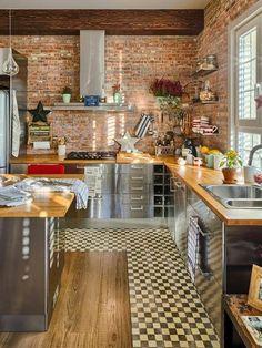 Cocinas con paredes de ladrillos