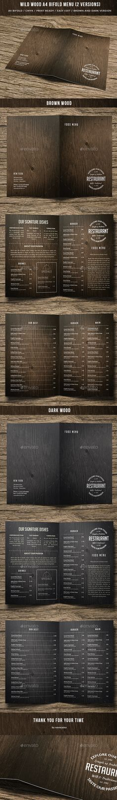Wild Wood A4 Bifold Menu 2 Versions — Photoshop PSD #business #style • Available here → https://graphicriver.net/item/wild-wood-a4-bifold-menu-2-versions/15645295?ref=pxcr