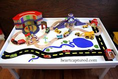 Heart...Captured: DIY: Train Table Makeover Diy For Kids, Crafts For Kids, Toy Rooms, Kids Rooms, Happy Play, Kids Play Table, Crafts To Make, Diy Crafts, Train Activities