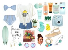 """""""beach love"""" by mkelly1 on Polyvore featuring ADAM, Glamorous, Lisa Marie Fernandez, Casetify, Cocobelle, Library of Flowers, I Love..., Davines, Eos and Kate Spade"""