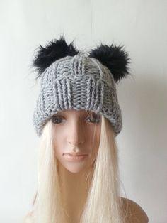 112d39edb8f3 Hand Knit Hat Gucci Inspired Beanie Hat With Fur PomPom