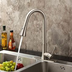 Contemporary Nickel Brushed Finish Single Handle Pull Out Kitchen Tap - Pullout Rinser Taps - Kitchen Taps Contemporary, Kitchen And Bath, Faucet, Brushed Finish, Kitchen, Kitchen Remodel, Kitchen Faucet, Kitchen Taps, Contemporary Kitchen