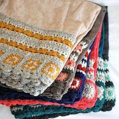 granny squares edging on Tea Towels