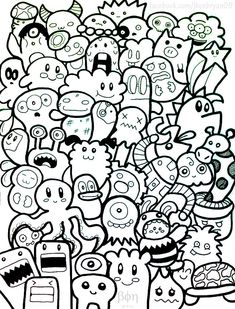 A doodle with funny characters, simple to color., from the gallery : doodling / doodle art, artist : bon janapin Cute Doodle Art, Doodle Art Designs, Cool Doodles, Doodle Art Drawing, Simple Doodles, Art Drawings, Doodle Doodle, Doodle Kids, Doodle Art Name