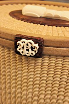 Georgia Basketry Association 2014 Convention - Nantucket Basket Jewelry Box with Ivory and Rosewood Monogram | Oysters & Pearls