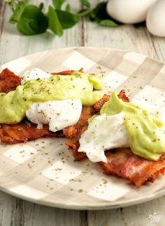 Eggs Benedict With Avocado Sauce - an interesting replacement for hollandaise sauce! (paleo, dairy free, gluten free)