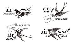 bird mail stamps. (par avion)