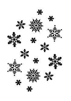black and white patterns snowflakes silhouette clip art vector rh pinterest com black and white snowflake clip art Black and White Snow Flakes