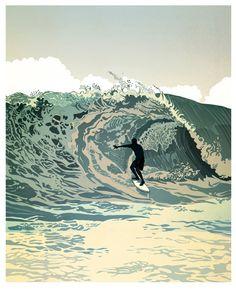 Graphic Illustration, Illustrations, South African Artists, Design Graphique, Beach Art, Strand, Amazing Art, Modern Art, Ocean