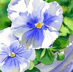 White & Blue Pansies Flowers Watercolor by kathyjurek on Etsy
