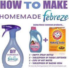 We all love Febreze Air Freshener but it can sometimes be expensive. Why not make your own DIY Febreze Fabric Freshener and save some money!DIY Homemade Febreze is so easy to make and you will save… Homemade Cleaning Supplies, Household Cleaning Tips, Cleaning Recipes, House Cleaning Tips, Cleaning Hacks, Household Products, Cleaning Solutions, Household Cleaners, Green Cleaning