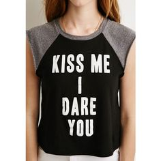 Forever 21 Women's  Kiss Me Raglan Tee ($15) ❤ liked on Polyvore featuring tops, t-shirts, forever 21 tops, sleeveless t shirt, crewneck t-shirt, raglan top and raglan t shirt