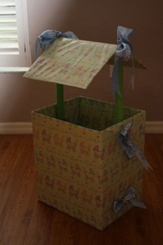 I Kelly Norelius Bresnahan Made This Wishing Well For My Son S Baby Shower Out Of A Box Ribbon Tape Empty Wring Paper Rolls