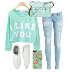 Ming green I like you tshirt and ripped blue jeans
