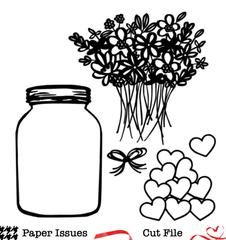 Mason Jar Fresh Picked Flowers-Free Cut File