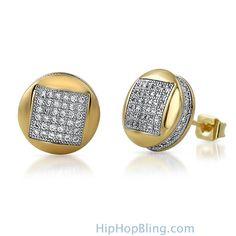 3D Square in Circle Gold CZ Bling Bling Earrings Custom Gold Micro Pave Earrings