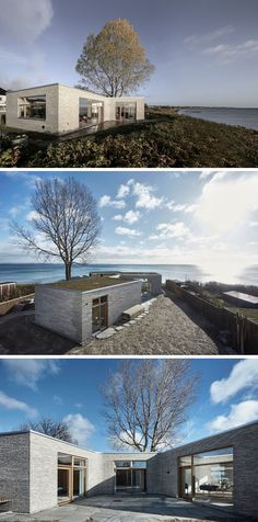 19 Examples Of Modern Scandinavian House Designs   Light stone bricks, a green roof, and large windows give this waterfront home a simple yet timeless exterior.