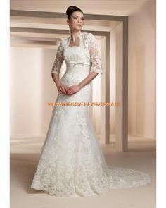 2013 Luxuriöse Brautkleider aus Satin und Softnetz mit langer Schleppe und Korsage