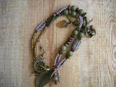 "Beaded and Brass necklace ""GATHERER' II at VINTAGE PORTAL"