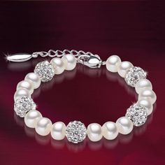J.MOSUYA Freshwater 100% Natural Pearl Bracelet White Pearls Women Bracelet With Pearl Jewelry de perle