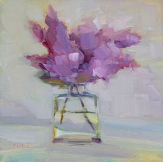 """'Lilacs from Lucy' - 6""""x6"""" original still life oil painting by Maryann Lucas."""
